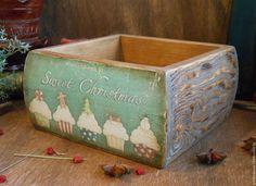 """Купить Короб из сосны """"Сладкое Рождество"""" - коричневый, короб для кухни, короб для сладостей, короб для специй"""