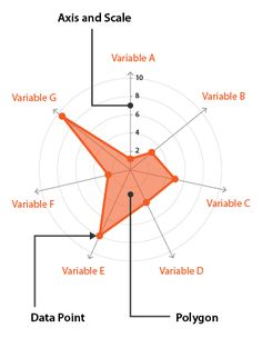 A Radar Chart is a way of comparing multiple quantitative variables on a polar grid. Read more about this chart and related resources. Graph Design, Chart Design, Spider Graph, Radar Chart, Visual Thinking, Presentation Skills, Information Design, Data Visualization, Rubrics