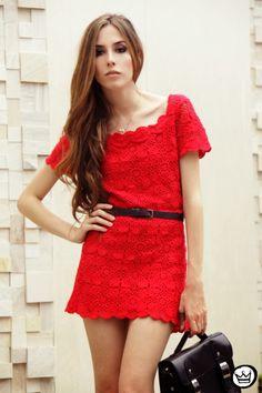 Vestido de Crochet Vermelho