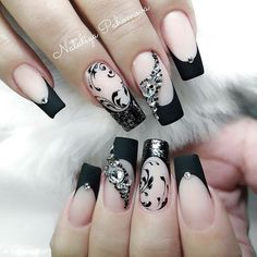 Square shaped nails with black french design and floral art and rhinestones. Beautiful nails sculpted by Ugly Duckling family member @pahomova_nogti with Fufu Pink acrylic and #43 Gel polish Ugly Duckling Nails page is dedicated to promoting quality, inspirational nails. Tag us and mention what Ugly Duckling products y