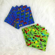Cloth Wipes, Washcloths, Handkerchiefs, Burp Cloths, Dust Cloths Set of 10 in Race Car Prints by HeavenBoundHCA, $10.00 USD