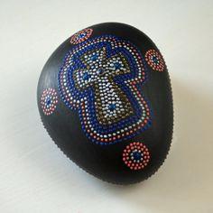 Hand Painted Rock Ornate Cross Dot