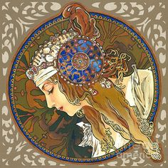 Browse through images in Elena Yakubovich's My Acrylic Painting As An Interpretation Of The Famous Artworks Of Alphonse Mucha collection. I've always loved the 'art nouveau' style. Art And Illustration, Illustrations, Klimt, Art Nouveau Design, Design Art, Art Journal Pages, Alphonse Mucha Art, Jugendstil Design, Famous Artwork
