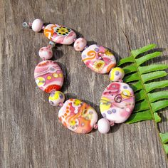 pink street lampwork bead set large tabs handmade glass by lisanew