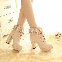 Cute PU Leather Lace High-heeled Short Lolita Boots