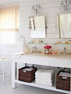 Beautiful Open Vanity Storage (click over for 3 budget bathroom renovations! Bathroom Renos, Bathroom Renovations, Home Renovation, Small Bathroom, Bathroom Ideas, White Bathroom, Master Bathroom, Bathroom Baskets, Shabby Chic Bathrooms