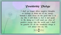 I shall no longer allow negative thoughts or feelings to drain me of my energy. Instead I shall focus on all the good that is in my life. I will think it, feel it and speak it. By doing so I will send out vibes of positive energy into the world and I shall be grateful for all the wonderful things it will attract into my life #positivity #confidence #gratitude #happiness