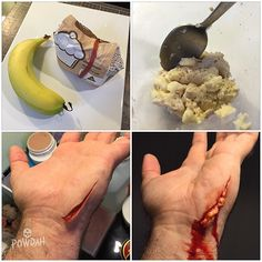 TIP: Here's an easy way to make seeping body fat using banana and a tiny bit of flour. I've used this trick in a few make-ups now and thought I would share it. You can also add a bit of yellow or green colouring to make it look infected. Because of the natural fibres in banana you can also create gross dangly bits. #specialfx #specialeffects #specialeffectsmakeup #sfx #sfxmakeup #fxmakeup #fx #makeup #mua