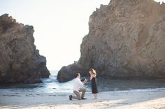 After she said yes to this amazing beach proposal at Big Sur, they watched the sunset at a secluded area in the trees. <3