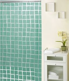 It's hip to be a square with the Real Squares Aqua Shower Curtain. Made of vinyl, it features a monochromatic pattern of aqua squares askew on the. Vinyl Shower Curtains, Green Shower Curtains, Aqua Rooms, Aqua Bathroom, Bathroom Ideas, Hookless Shower Curtain, Orange Curtains, Contemporary Shower, Curtains For Sale