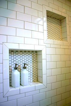shower niche subway tile - Google Search