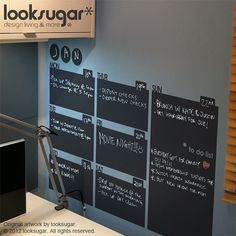 Chalkboard Decal Wall Calendar for Home or Office  by looksugar, $68.00