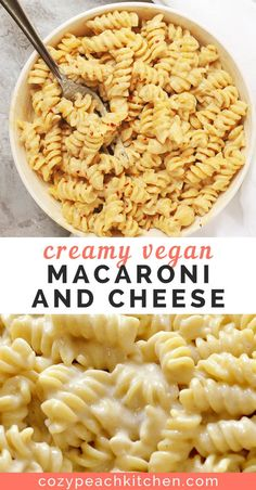 Creamy Vegan Macaroni and Cheese This vegan mac and cheese recipe is made super smooth and creamy with coconut milk. This recipe has no cashews or nuts and requires under 30 minutes to make! Vegan Mac N Cheese, Vegan Cheese Recipes, Delicious Vegan Recipes, Vegan Foods, Vegan Dishes, Dairy Free Recipes, Vegetarian Recipes, Healthy Recipes, Mac And Cheese Recipe No Milk