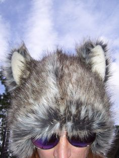 5217769bca7 Furry Wolf Hat Ears Gray White Brown Really Real Wolf-like Fur Warm Winter  Adult