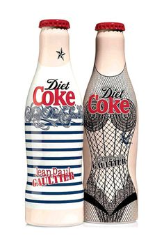 breaking rules the coca cola bottle wears the image of a slim female figure which advertises the brand of COKE DIET itself.this implies that you can still drink diet coke and not gain weight. Coca Light, Jean Paul Gaultier, Diet Coke, Cool Packaging, Packaging Design, Beverage Packaging, Bottle Packaging, Dr Oz, Packaging