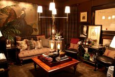 Dark fabric, woods, brass, hurricanes, plaids. Love this room.  Scot Meacham Wood, SF