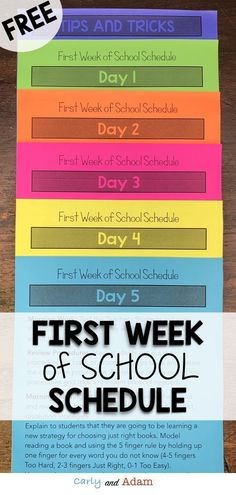 FREE First Week of School Schedule: This pack includes schedules for each day of the first week of school! Spend the rest of your summer relaxing without having to worry about planning your first week of school! (Beginning of the School Year Schedule, Bac First Day Of School Activities, 1st Day Of School, Beginning Of The School Year, School Week, School Plan, School Schedule, First Grade Schedule, School Routines, Meet The Teacher