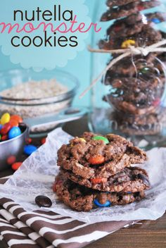 Nutella Monster Cookies - Something Swanky... oh sweet hell... nutella is my crack... why oh why did I run across this delicious sounding recipe???? must. make. now...