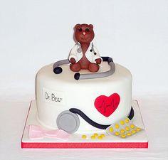 Dr Bear doctor's birthday cake by EvaRose Cakes