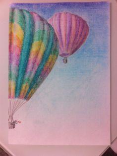 Hotair balloon, pastel