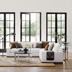 Robertson Customizable Sectional Robertson Customizable Sectional Sofa – love the wide arms and one piece seat on each section. (Definitely not in white upholstery. Living Room Windows, Home Living Room, Interior Design Living Room, Living Room Designs, Living Room Decor, Living Room Upstairs, Design Bedroom, Bedroom Colors, Apartment Living