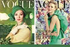 vogue covers in emerald green (pantone color of the year)