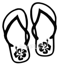 Hawaiian Boy Clip Art | Beach Flip Flops Hawaiian Flowers Decal by Coins4Sale on Etsy