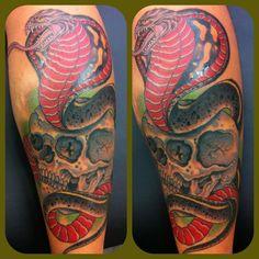 Traditional japanese hannya snake tattooed by chris lain for Tattoo corpus christi