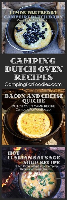 No camping trip is complete without great food! Cooking for two? Or a crowd? We've got outdoor camp meals that can be cooked in cast iron Dutch ovens using charcoal briquettes or tripods and grates over campfires. You'll love our fun and easy Dutch oven r