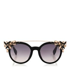 JIMMY CHOO VIVY Black Round Framed Sunglasses with Detachable Jewel Clip On. #jimmychoo #a