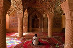 http://uncorneredmarket.com/american-travel-iran/   Audrey in the Pink Mosque - Shiraz, Iran