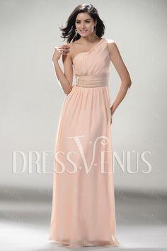 Elegant A-line One-shoulder Floor-length Evening/Prom Dress