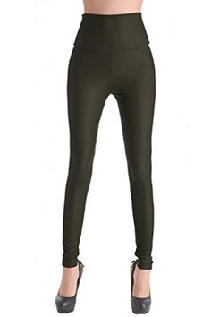 503a11e75574b2 Lotsyle Women's High Waist Faux Leather Leggings at Amazon Women's Clothing  store:
