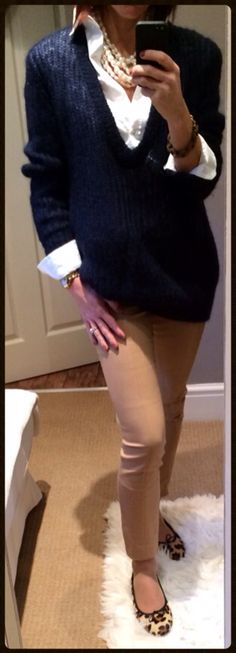Pearls teamed with a classic white tailored shirt, boyfriend navy jumper, camel cigarette trousers & leopard print ballet pumps.