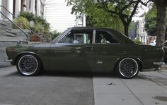 Datsun/Nissan Bluebird Coupe - I don't normally like green cars but I'm digging… Classic Japanese Cars, Classic Cars, Datsun 1600, Datsun Bluebird, Old School Cars, Import Cars, Jdm Cars, Retro Cars, Blue Bird