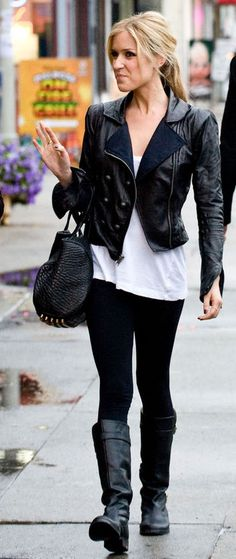 Perfect Kristin Cavallari Outfit- like longer t w/shorter leather jacket -HH