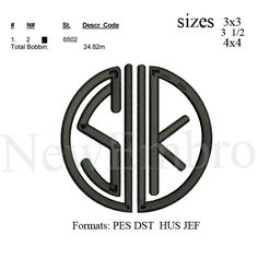 Custom embroidery,SK logo,Personalized Embroidery, embroidery designs embroidery pattern 3 sizes Instant download by NewEmbro, $3.99 USD