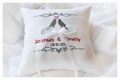 Wedding lovebirds pillow  Ring Bearer Pillow  Linen by KoTshop, $24.00 + $7 shipping = $31