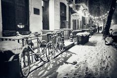 New York City - Winter Night In The Snow - East Village Bicycles and Holiday Lights
