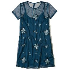 Hollister Embroidered Mesh T-Shirt Dress ($50) ❤ liked on Polyvore featuring dresses, dark turquoise floral, floral embroidery dress, floral t shirt dress, tee shirt dress, t-shirt dresses and dark blue dress