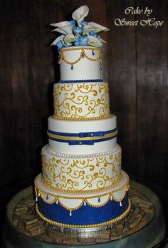 Blue & Gold Wedding Cake - for my Beauty & The Beat Inspired wedding!
