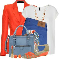 """Blue & Orange"" by brendariley-1 on Polyvore"