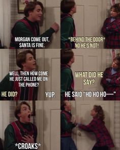 """Eric messing with Morgan about Santa on """"Boy Meets World""""."""