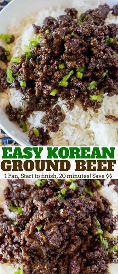 Sweet and Spicy Korean Ground Beef with all the flavors of your favorite Korean BBQ but for a third of the cost and kid friendly! 1 pound lean ground beef 1 tablespoon sesame oil 3 cloves garlic minced 1 teaspoon fresh ginger minced 1/2 cup brown sugar 1/4 cup lite soy sauce 1 teaspoon sriracha 2 green onions only the green parts