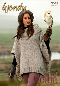 Knitting Pattern - Wendy 5672 - Celtic - Poncho, Beret, Mitts