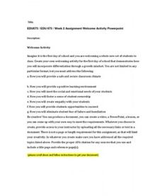 edu 673 week 2 journal F how it works for the students who will use it g how it will provide an opportunity for students to demonstrate what they know, understand, and.