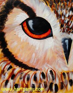 All Seeing Owl  By Cinnamon Cooney The Art Sherpa as a Fully guided art lesson for Hart Party on youtube. Free online home painting party https://www.youtube.com/user/HoneyBmama