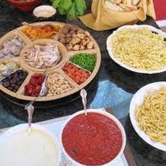Pasta bar, Taco bar, Baked potato bar, pannini bar, build your own burger bar, nacho bar, salad bar, potluck, S'mores Bar