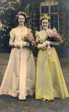 Flower girls. My Auntie Betty is in the pink shaded dress. 1930s.