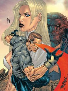 New X-Men No.155 Cover: Cyclops, Emma Frost and Beast Plastic Sign